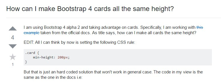 Insights on how can we  establish Bootstrap 4 cards  all the same  height?